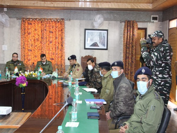 Visuals from poll preparedness review meeting held in Bandipora (Photo/ANI)