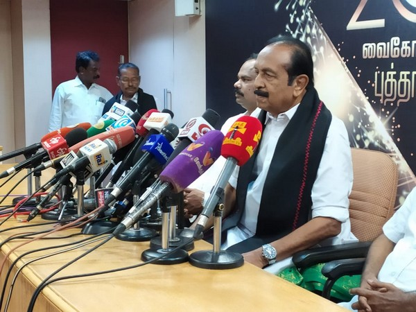 MDMK founder Vaiko addresses media in Chennai on Wednesday [Photo/ANI]