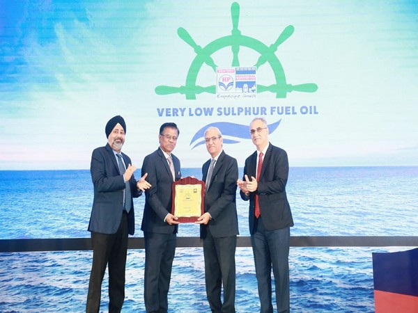 Hindustan Petroleum Corporation Limited launched IMO-2020 compliant Very Low Sulphur Fuel Oil (VLSFO) for shipping industry on Jan 2 in Andhra Pradesh's Visakhapatnam. Photo/ANI