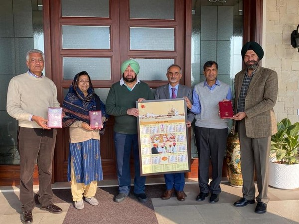Punjab Chief Minister Captain Amarinder Singh releasing the government's new year diary and calendar with other officials in Chandigarh on Saturday. Photo/ANI