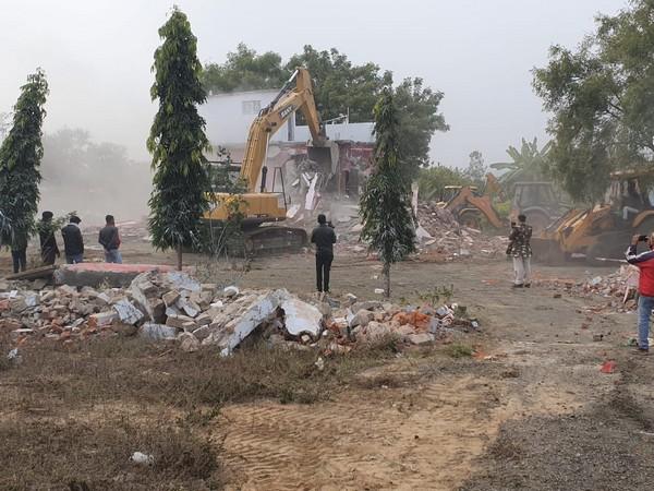 A house belonging to land mafia was demolished in MP's Raisen on Saturday. Photo/ANI