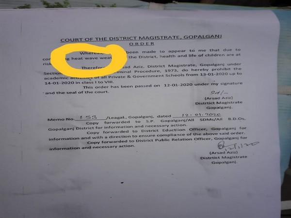 Gopalganj District Magistrate's order (Photo/ANI)