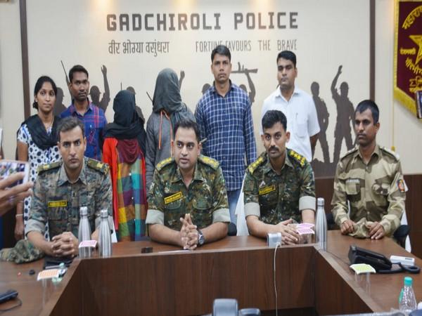 Gadchiroli Police with the arrested Naxaliites on Wednesday. Photo/ANI