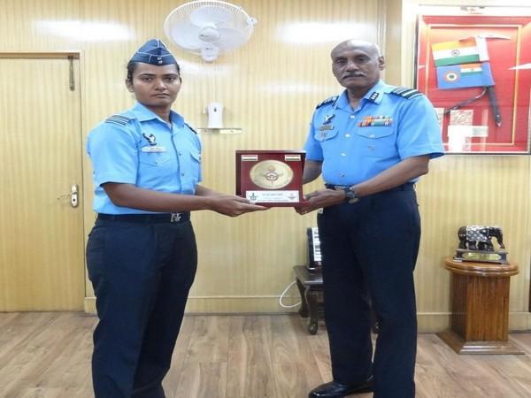 Indian cricketer Shikha Pandey and Air Marshal MSG Menon