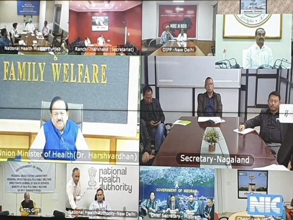 Union Health Minister, Dr Harsh Vardhan during the video conference with the state health ministers. Photo/ANI