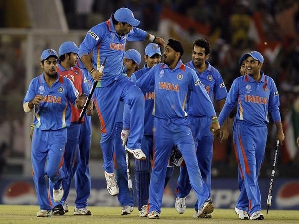 India players celebrate after winning the 2011 WC semis clash against Pak