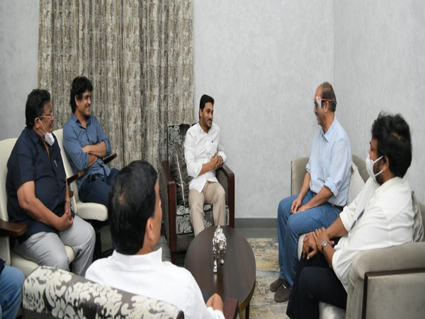 Andhra Pradesh Chief Minister YS Jaganmohan Reddy meets Tollywood superstars Chiranjeevi, Nagarjuna, director SS Rajamouli and others at his Amaravati residence (Photo/ANI)