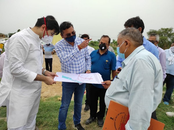 Delhi Jal Board VC Raghav Chadha inspects the 'Water Augmentation Project' at Palla region on Saturday.
