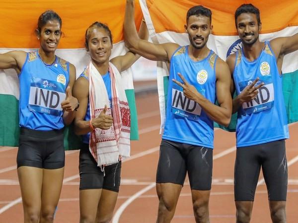 MR Poovamma, Hima Das, Mohammed Anas and Arokia Rajiv