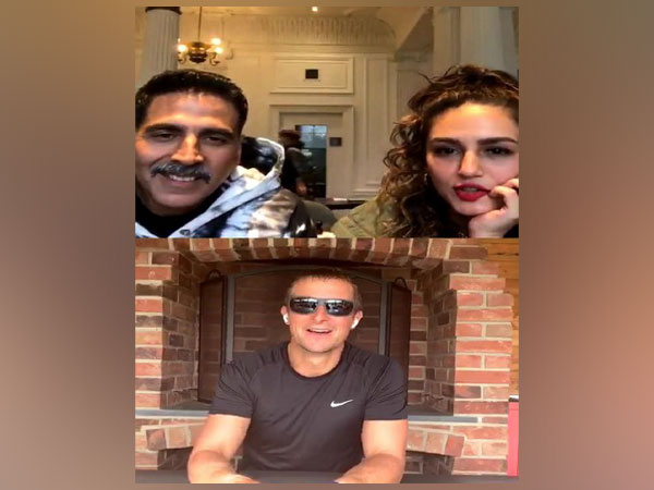 Actors Akshay Kumar and Huma Qureshi during Instagram Live session with Bear Grylls (Image Source: Instagram)