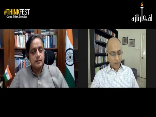 Congress Lok Sabha MP Shashi Tharoor in conversation with Pakistani journalist Khurram Husain