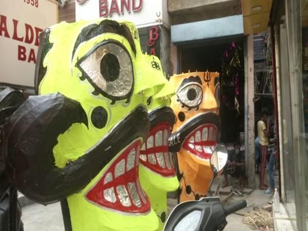 Ravana effigies at Delhi's Tatarpur village.
