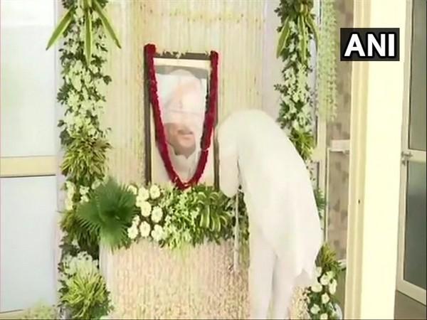 PM Narendra Modi pays tribute to Keshubhai Patel in Ahmedabad on Friday. (Photo/ANI)