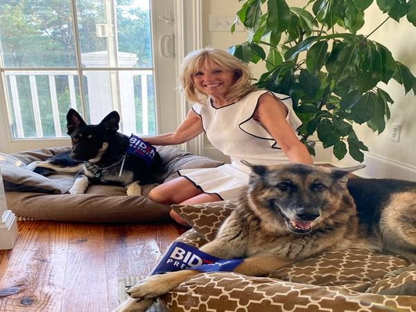 Jill Biden with her dogs, Champ and Major (Credit: Dr. Jill Biden/Twitter)