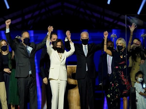 US President-elect Joe Biden and Vice President-elect  Kamala Harris with their families.