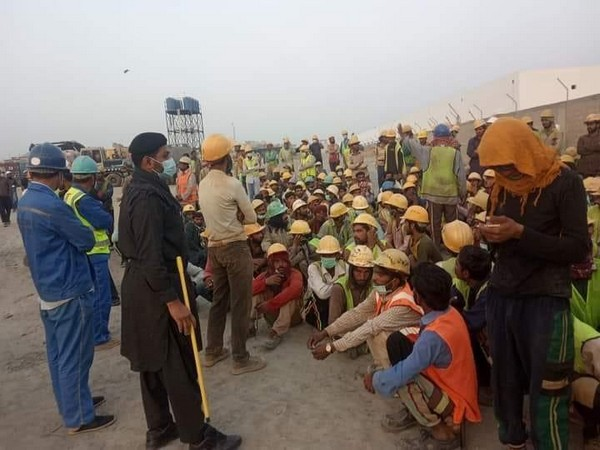 Labourers protesting against China in Karachi.