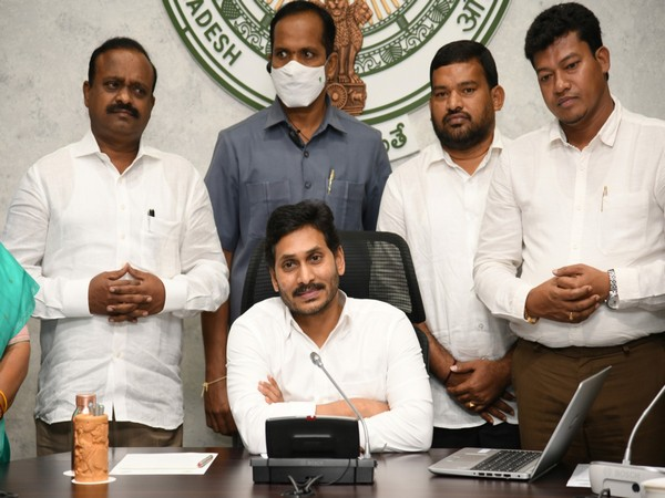 Andhra CM YS Jagan Mohan Reddy during the virtual foundation laying ceremony (Photo/ANI)