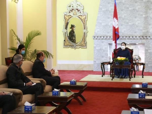 Foreign Secretary Harsh Vardhan Shringla met Nepal President Bidya Devi Bhandari on Thursday.