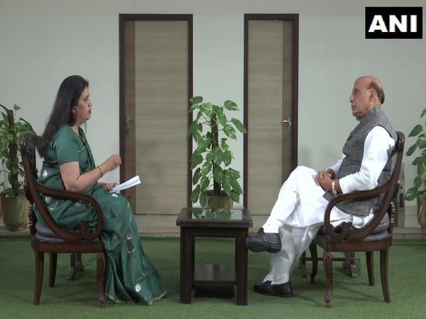 Defence Minister Rajnath Singh speaking to ANI.