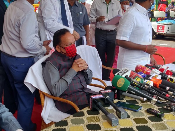 Union Health Minister Dr Harsh Vardhan addressing media in Chennai (Photo/ANI)