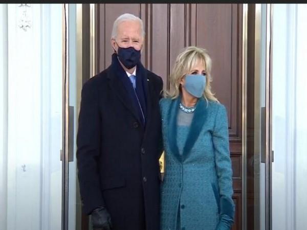 US President Joe Biden and wife Dr Jill Biden outside White House