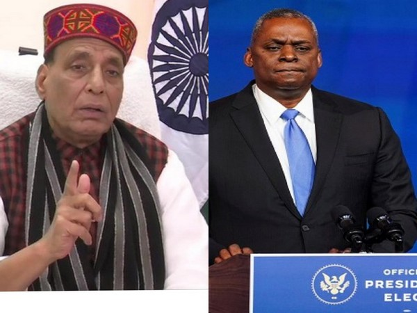 Defence Minister Rajnath Singh and his US counterpart Lloyd Austin