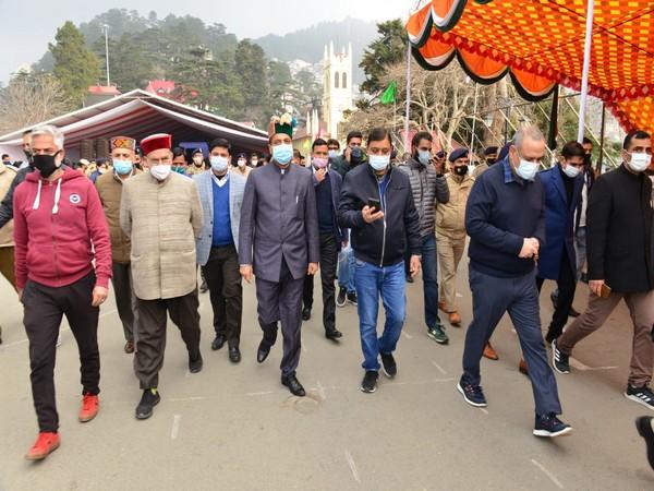 Chief Minister Jai Ram Thakur during his visit. (Photo/ANI)