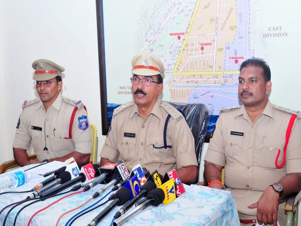 Andhra Police during press conference. (Photo/ANI)