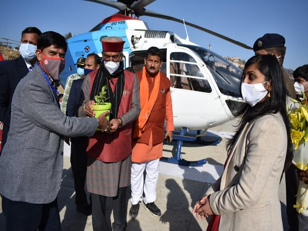 Uttarakhand CM arrives at the state's summer capital, Gairsain to attend the Assembly session commencing tomorrow.