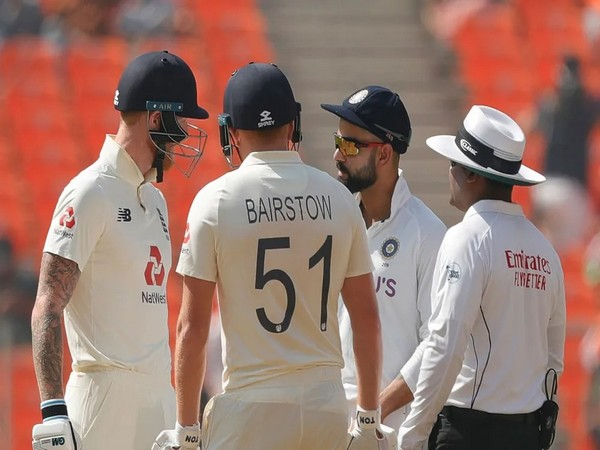 Virat Kohli with Ben Stokes and Bairstow (Photo/ BCCI Twitter)