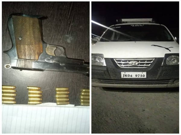 Two men were arrested with a pistol and ammunition in Jammu and Kashmir's Kulgam. [Photo/ANI]