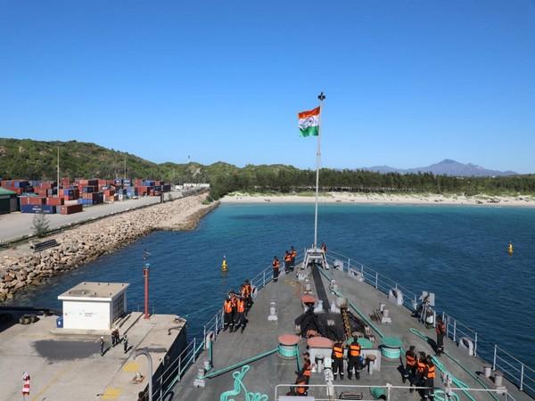 INS Jalashwa reaches the port of Ehoala, Madagascar
