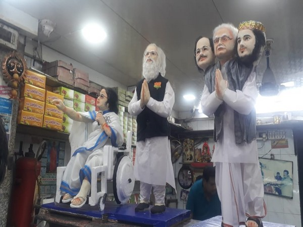 Figurines made of sweets by a shop in Howrah ahead of polls here. (Photo/ ANI)