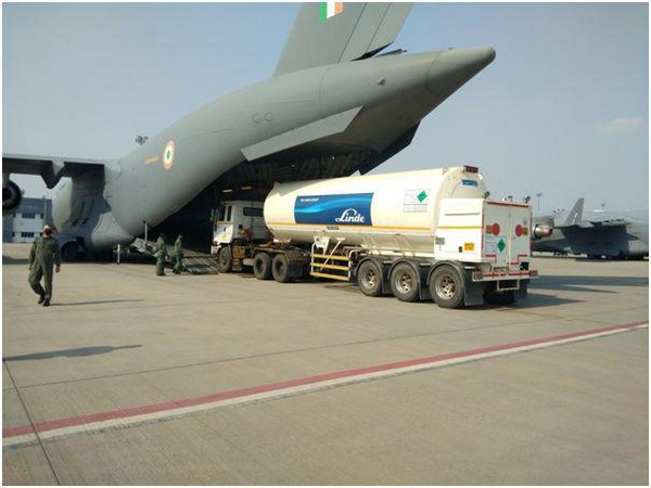 IAF has started airlifting big oxygen tankers from their place of use to the filling stations across the country to speed up distribution of oxygen. [Photo/ANI]