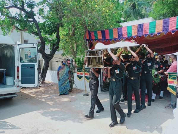 Mortal remains of Major General Chittoor Venugopal. (Photo/ANI)