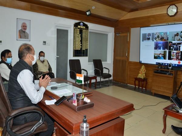 Himachal Pradesh Chief Minister Jai Ram Thakur virtually inaugurating oxygen plants (Photo/ANI)
