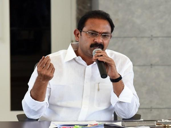 Andhra Pradesh Deputy Chief Minister and Health Minister Alla Kali Krishna Srinivas speaking to media on Wednesday.