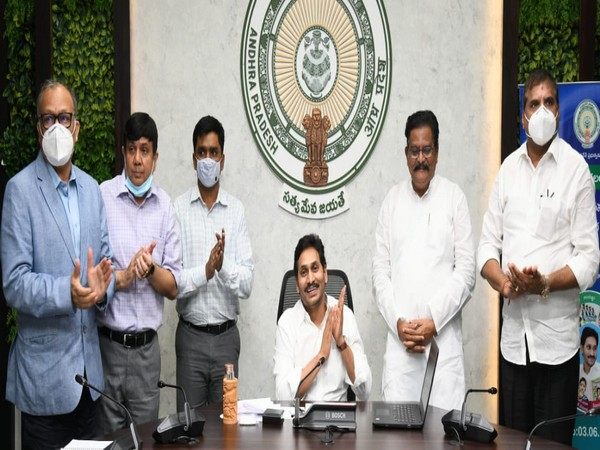 CM YS Jaganmohan Reddy (on the chair) (file pic/ANI).
