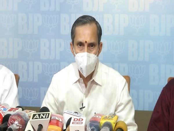 MT Ramesh, BJP Kerala General Secretary addressing a press meet on Wednesday (ANI).