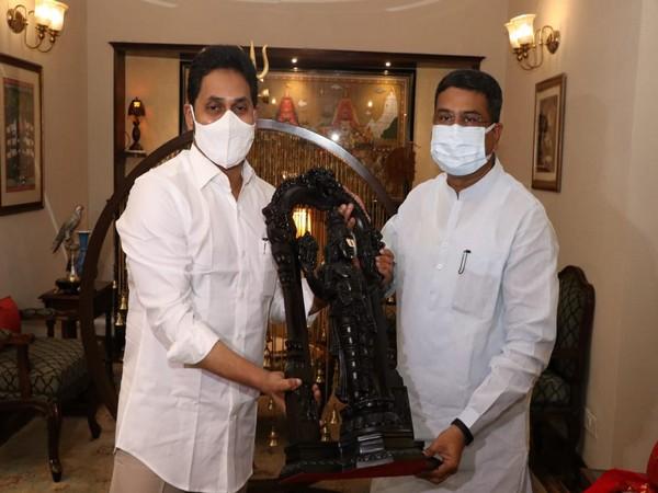 Andhra Pradesh Chief Minister YS Jagan Mohan Reddy met Union Minister Dharmendra Pradhan in Delhi (ANI).