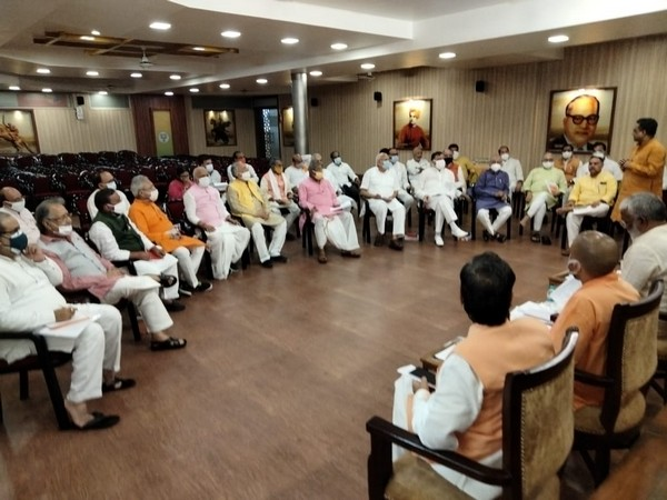 A meeting of UP BJP office bearers being held under the leadership of BL Santosh in Lucknow. [Photo/ANI]