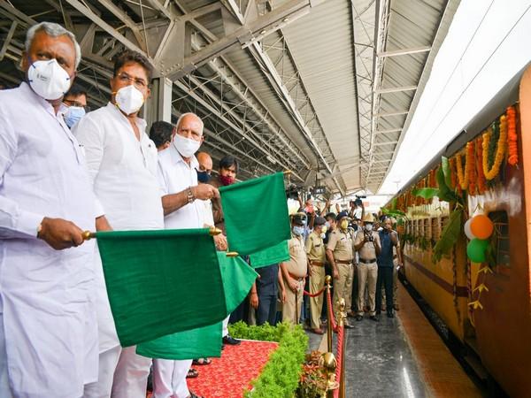 Karnataka CM BS Yediyurappa among others at Yelahanka Railway Station