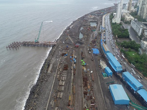 An aerial view of the coastal road project in Mumbai (Photo/Twitter)