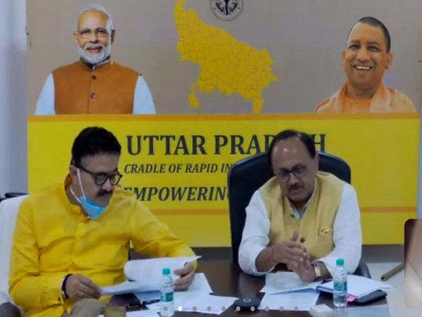 UP Cabinet Minister of MSME Sidharth Nath Singh with Navneet Sehgal, Additional Chief Secretary, Information, MSME, Export Promotion, Khadi & Village Industry (Photo/ANI)