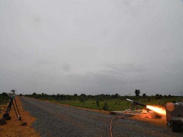 A visual of the test firing of missiles by DRDO
