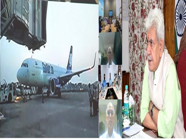 A photomontage of Lt Governor Manoj Sinha virtually inaugurating night flight operations