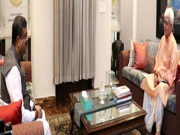 J&K Lt Governor Manoj Sinha in meeting with Union Education Minister Dharmendra Pradhan