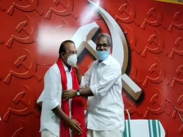 Former Congress leader PS Prasanth with CPI (M) State Secretary A. Vijayaraghavan at AKG centre (Photo/ANI)