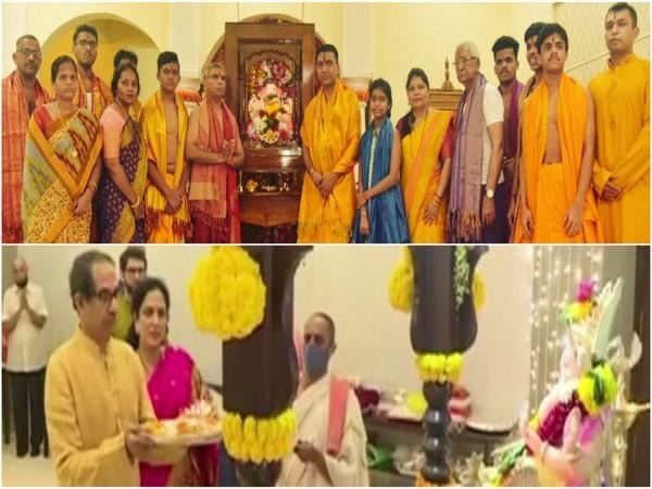 Goa Chief Minister Pramod Sawant and  Maharashtra Chief Minister Uddhav Thackeray celebrating Ganesh Chaturthi with their families (Photo/ANI)