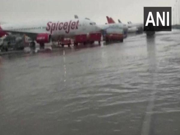 Waterlogging at the Indira Gandhi International Airport(Photo/ANI)